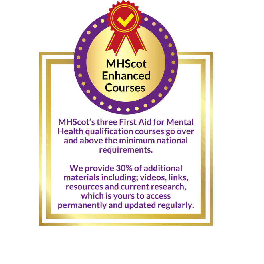 A badge about First Aid for Mental Health
